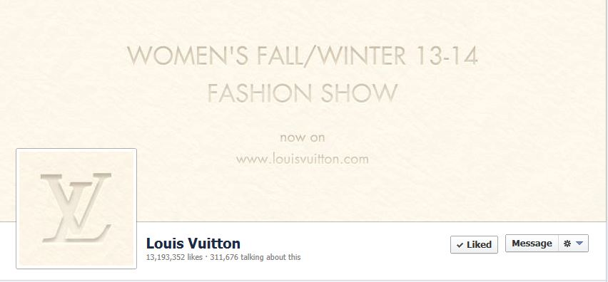 Cover Photo of Louis Vuitton on Facebook