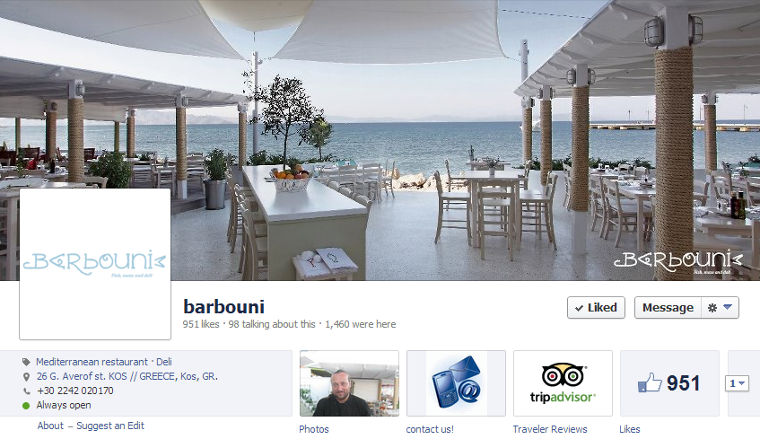 Facebook Page of Restaurant Barbouni in Kos, Greece