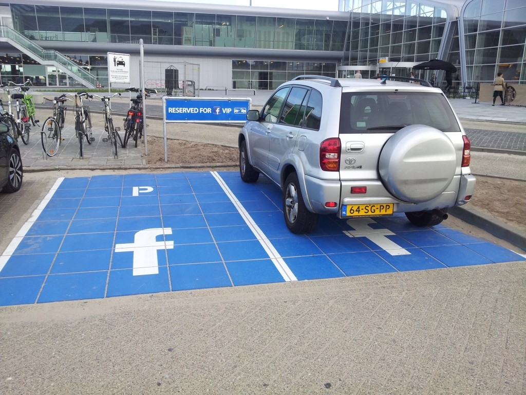 Facebook VIP Parking at Eindhoven Airport