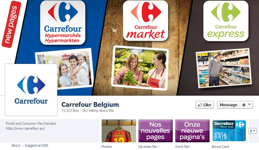 Carrefour: 3 different Facebook Pages