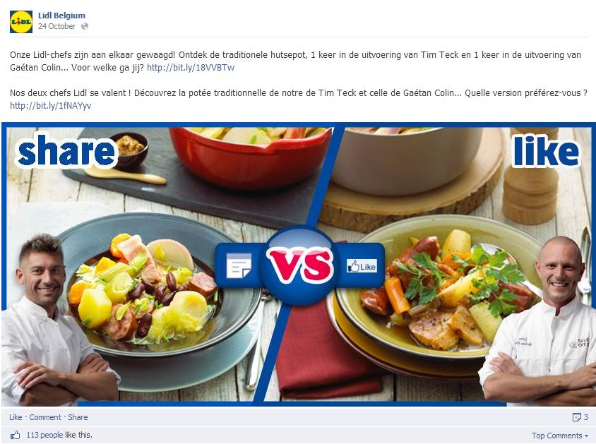 Lidl on Facebook - Share versus Like