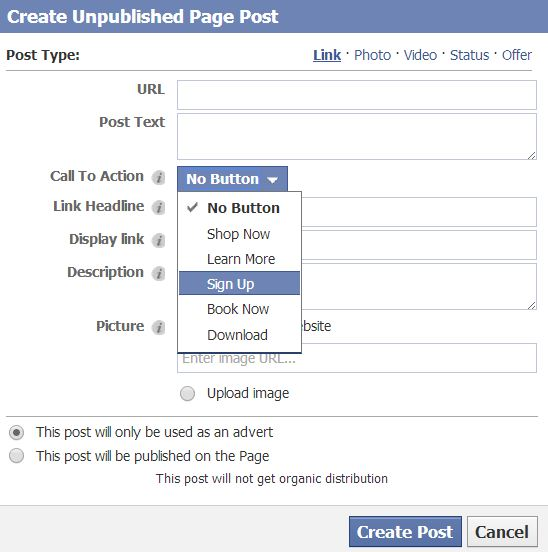 Screenshot of Pop-Up - Create Unpublished Page Post