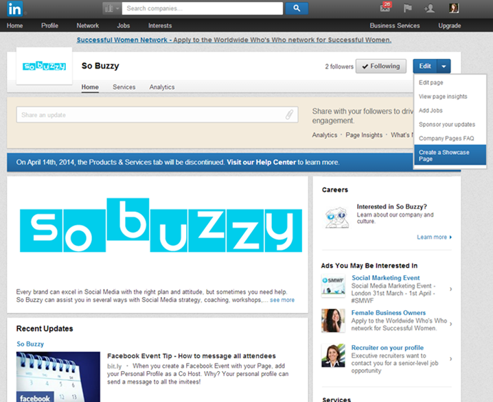 Screenshot: How to create a LinkedIn Showcase Page