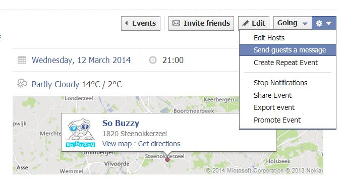 Screenshot of How to send guests a message via a Facebook Event