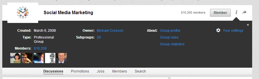 Screenshot of LinkedIn Group - Your settings