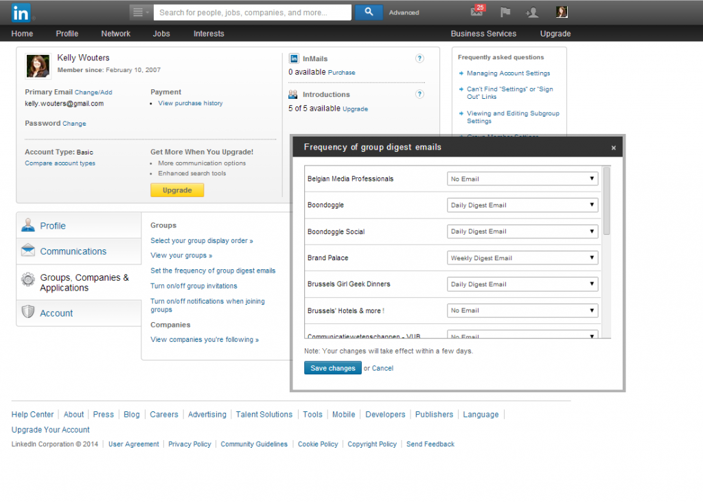 Screenshot of LinkedIn - Privacy and Settings for Groups