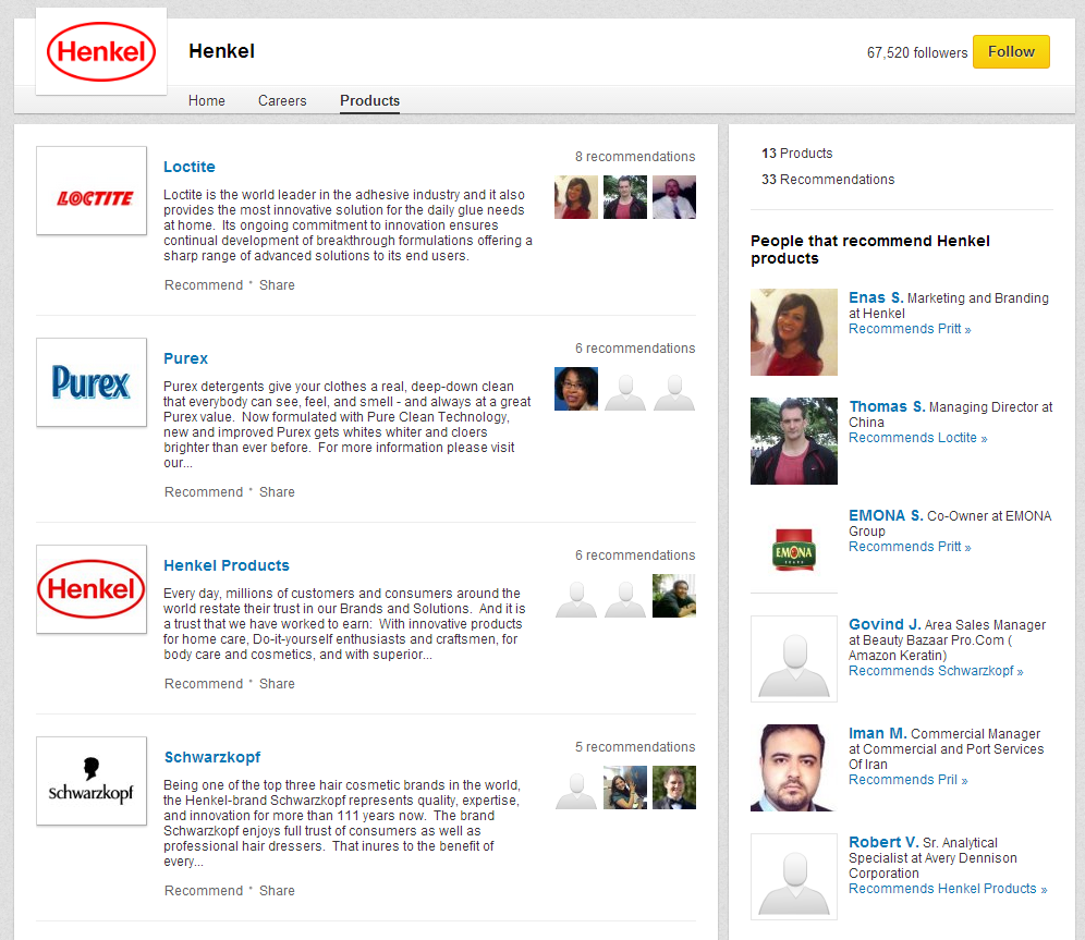 Screenshot: LinkedIn Products Tab of Henkel