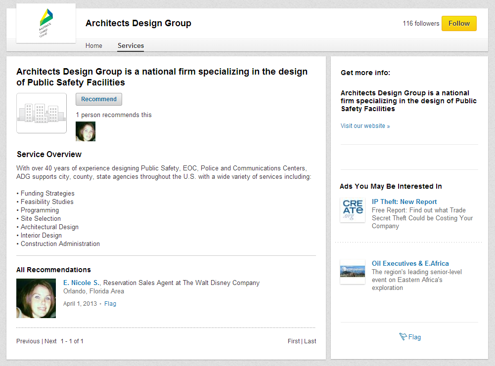 Screenshot: LinkedIn Services Tab of Architects Design Group 2