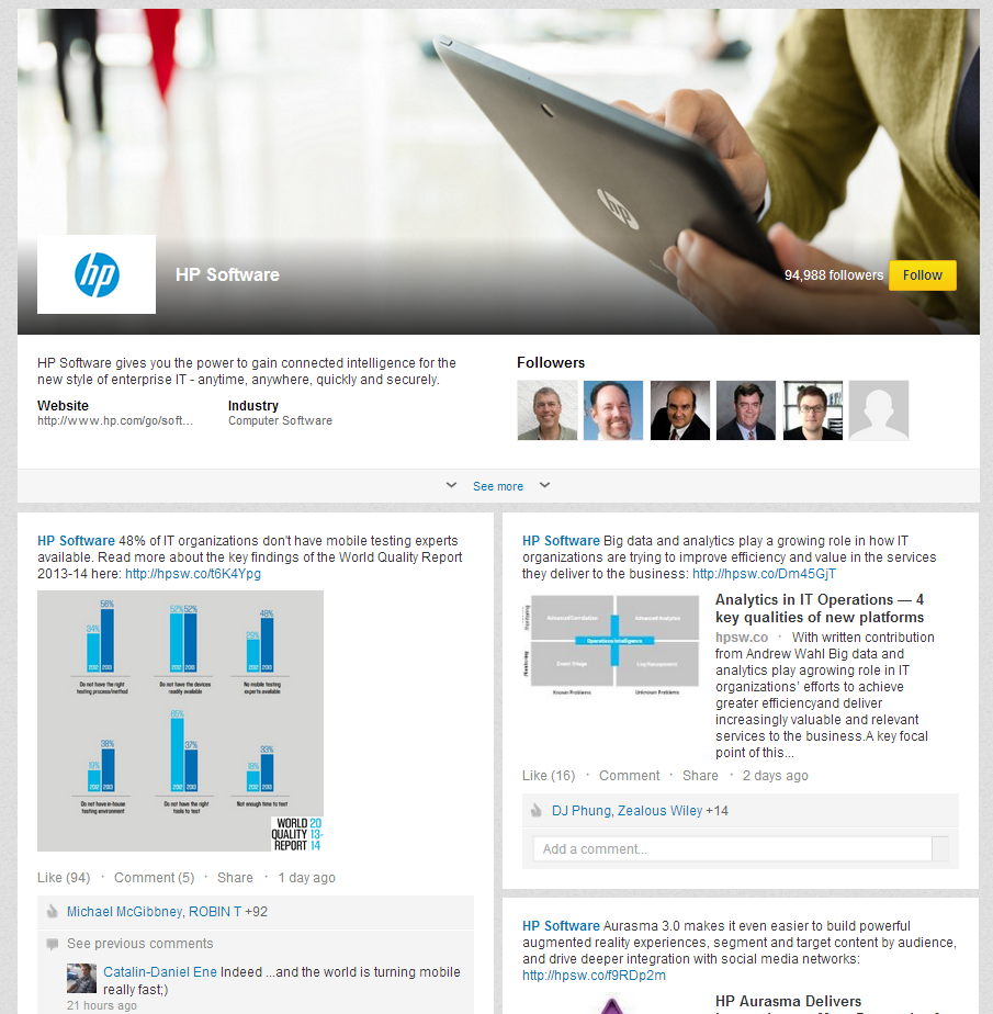LinkedIn Showcase Page Example: HP Software