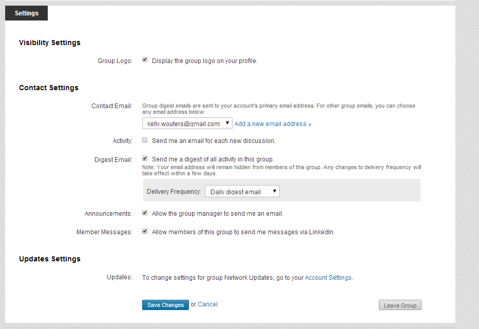 Screenshot of LinkedIn email delivery options