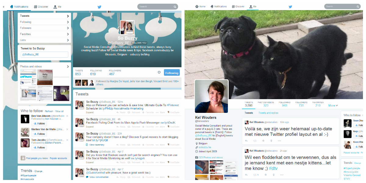 Old versus New Twitter Profile Layout