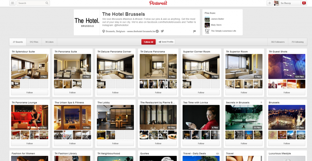 Screenshot of Pinterest Boards of The Hotel Brussels