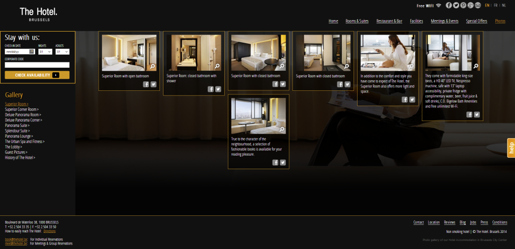 The Hotel integrated Pinterest Boards on their website