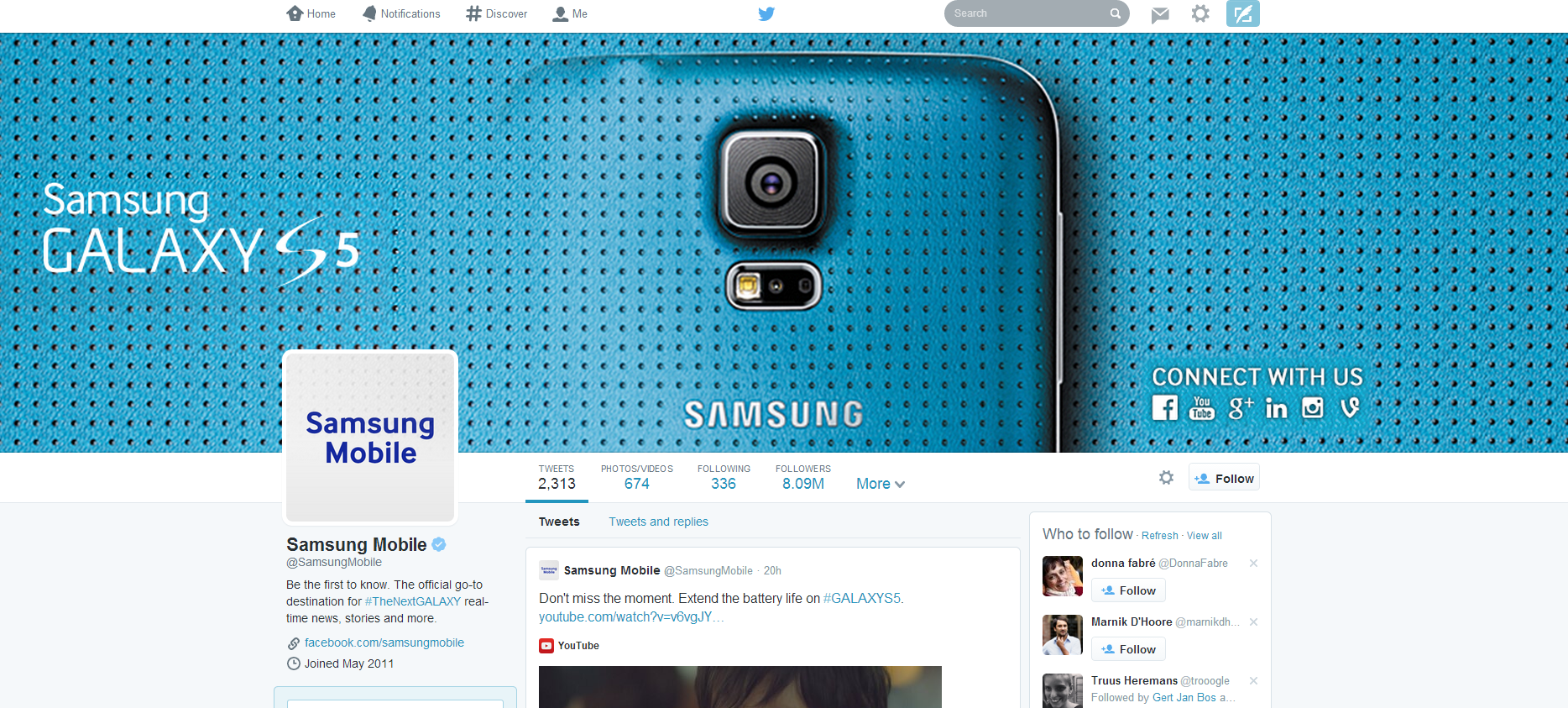 Twitter Header Photo of Samsung Mobile
