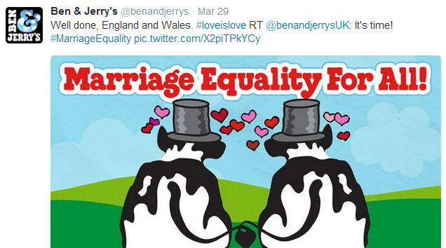 Ben & Jerry's tweet about topicality but still link it to their brand